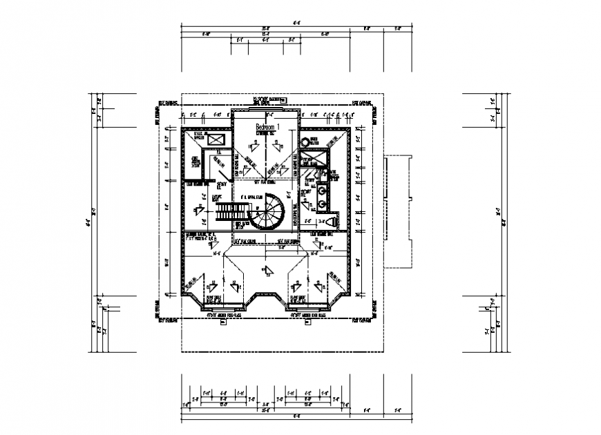Third floor of house building framing plan and layout plan details dwg file