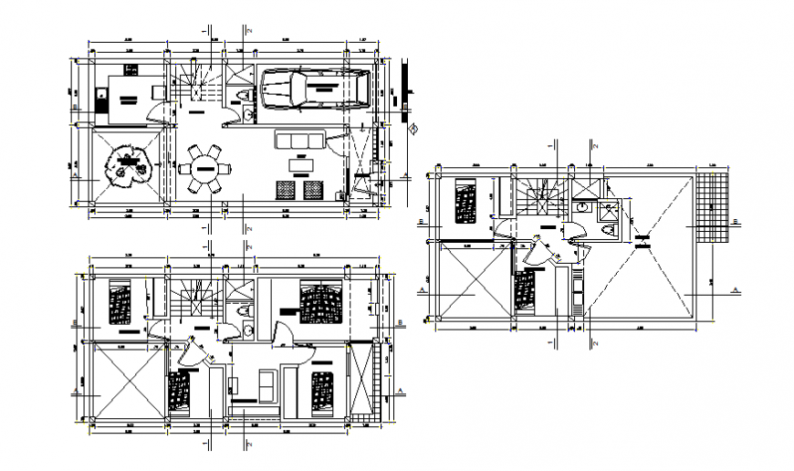 Three-level house floor plan layout details dwg file