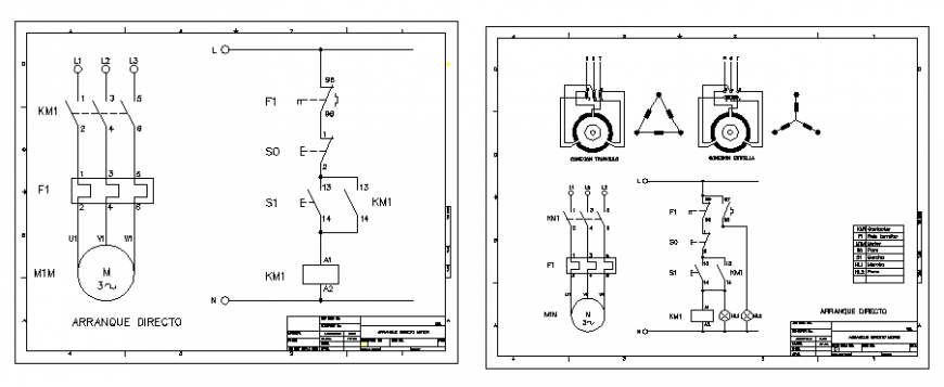 Three-phase motor start electric installation details dwg file