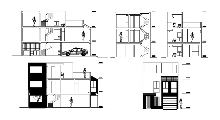 Three-story house all sided elevation and section details dwg file