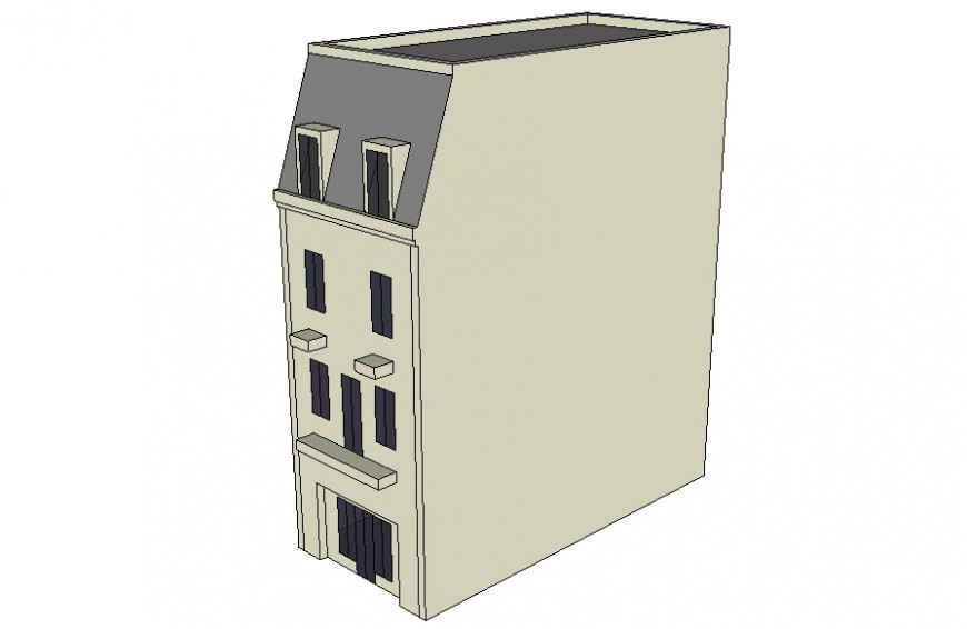 Three-story row house building 3d drawings in sketch-up software