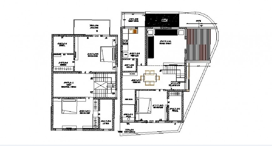 Three bedroom house architecture layout plan cad drawing details dwg file