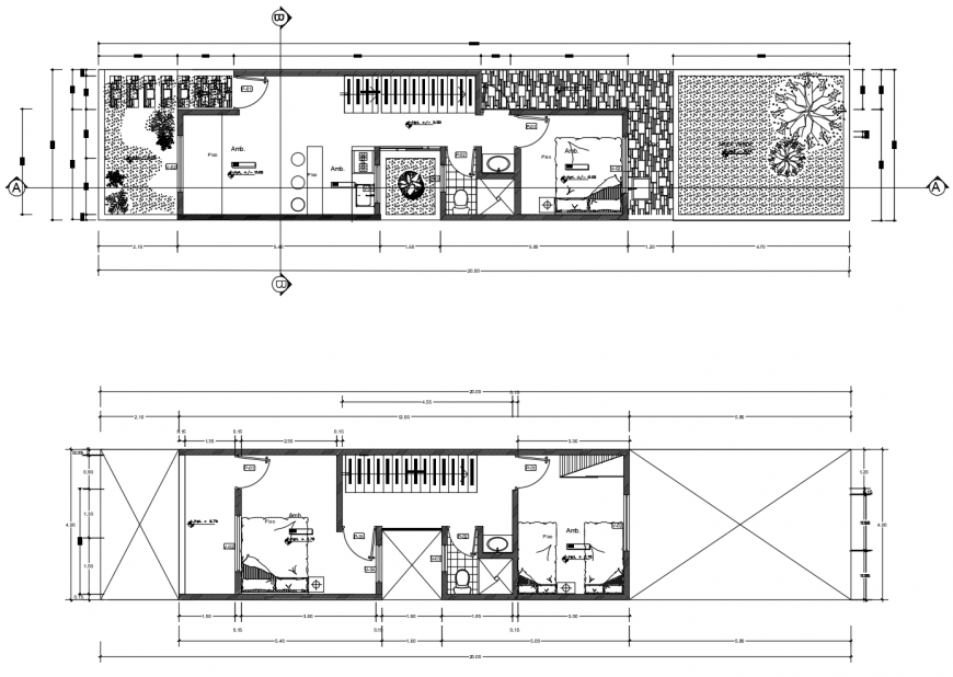Three bedroom house floor plan distribution drawing details dwg file