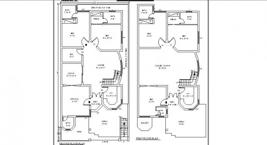 Three bedroom house ground and first floor plan cad drawing details dwg file