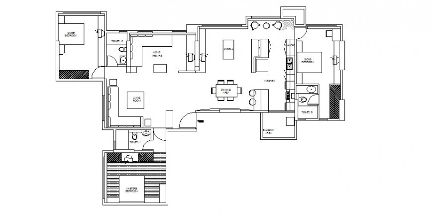 Three bedroom house layout plan auto-cad drawing details dwg file