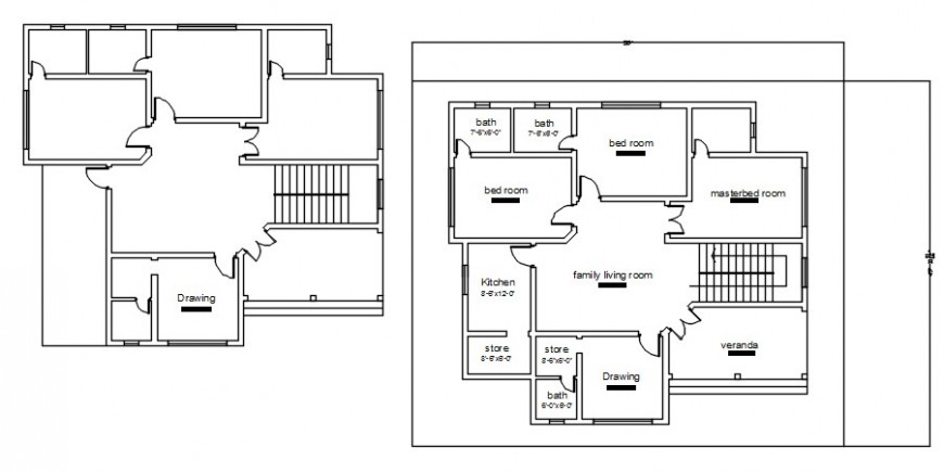 Three bedroom house simple distribution plan drawing details dwg file