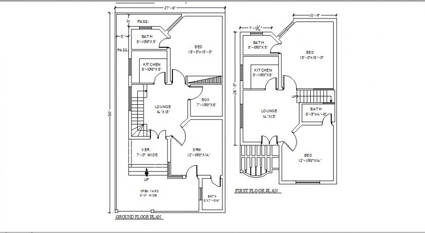 Three bedroom two-level house floor plan cad drawing details dwg file