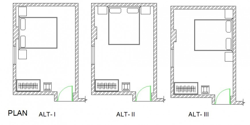 Three bedrooms of house layout plan cad drawing details dwg file