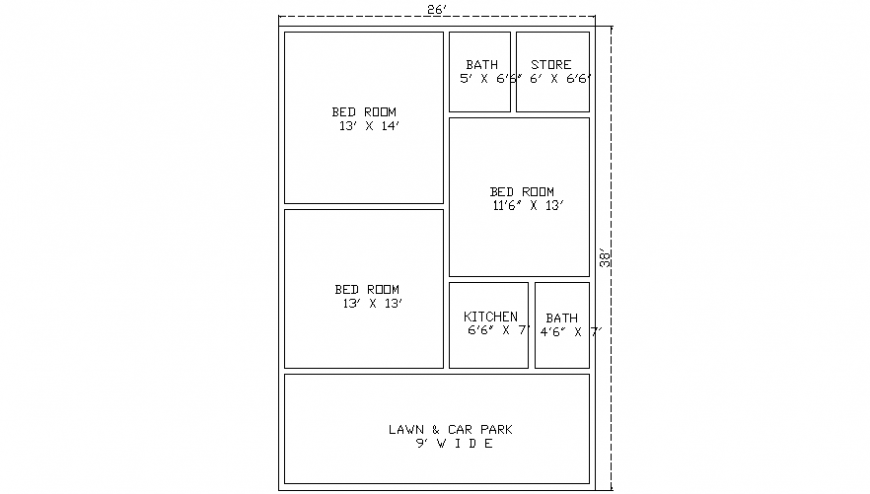 Three bhk house layout plan drawings details autocad software file