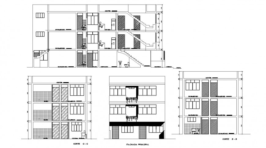 Three floor apartment elevation drawing in dwg AutoCAD file.