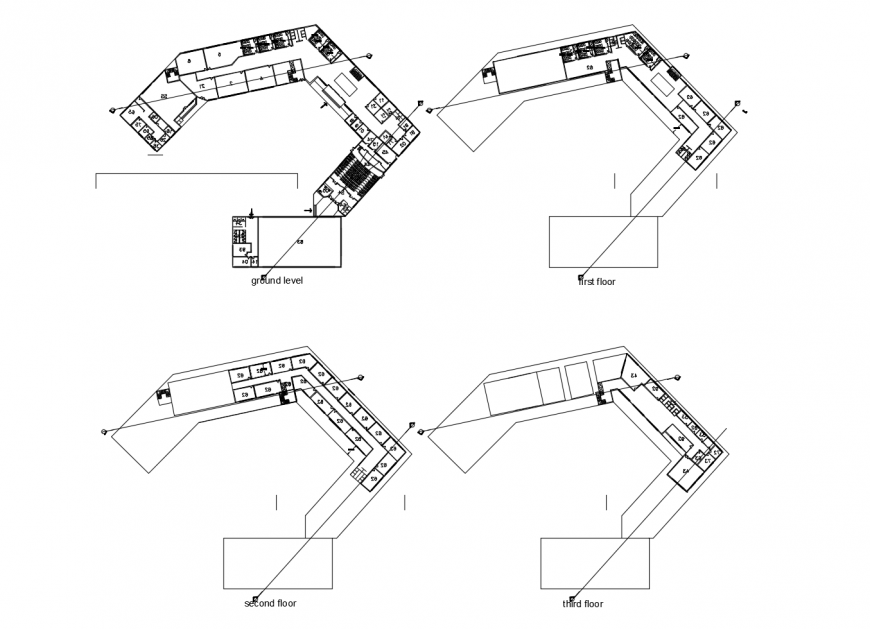 Three floor distribution layout plan details of college with hostel dwg file
