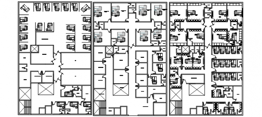 Three floor distribution plan details of admin corporate building dwg file