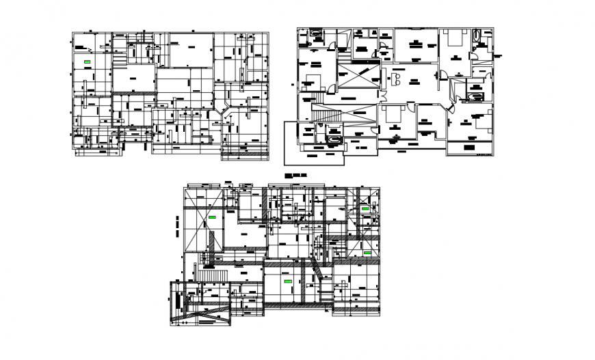 Three floor distribution plan details of Shan residential house dwg file