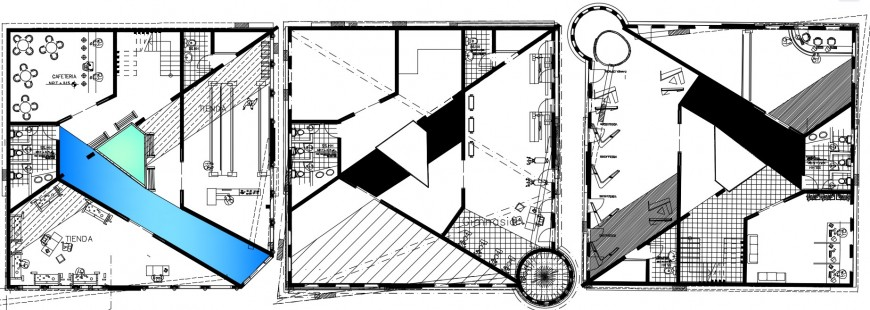 Three floor distribution plan drawing details of corporate building dwg file