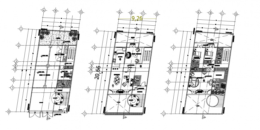 Three floor layout plan of three story house cad drawing details dwg file