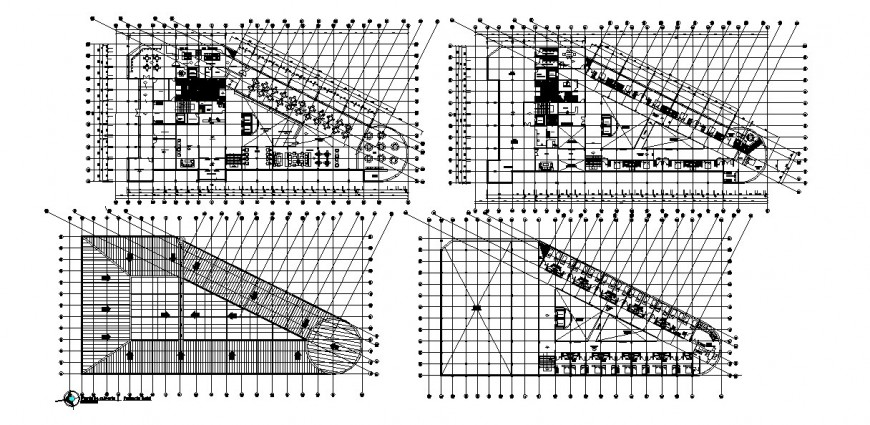 Three floors distribution and cover plan details of multi-story hotel building dwg file