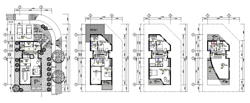 Three floors distribution plan details of apartment residential building dwg file