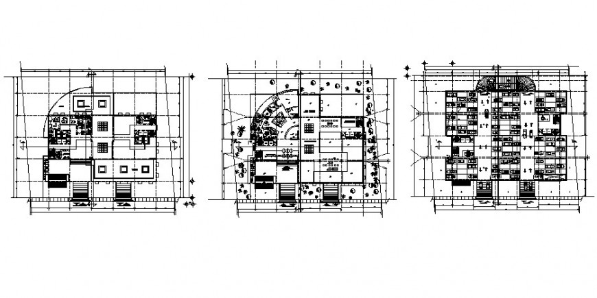Three floors distribution plan drawing details of administration building dwg file