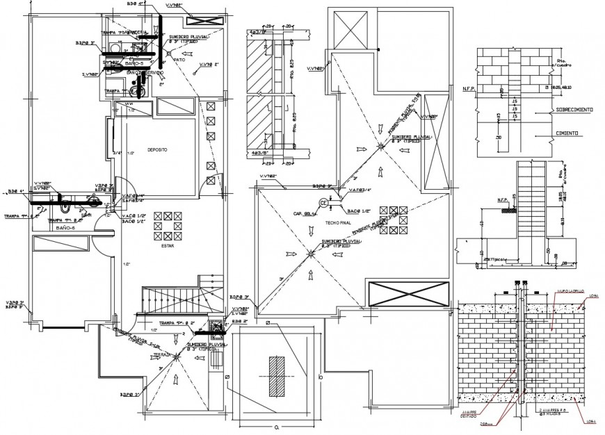Three floors of house sanitary installation and bathroom construction details dwg file