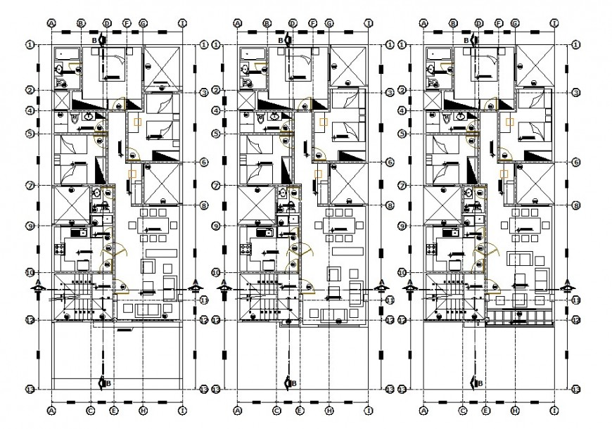 Three houses distribution plan details of apartment building with furniture drawing details dwg file
