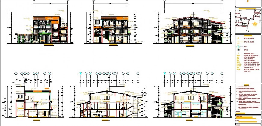 Three level apartment building all sided elevation and section cad drawing details dwg file