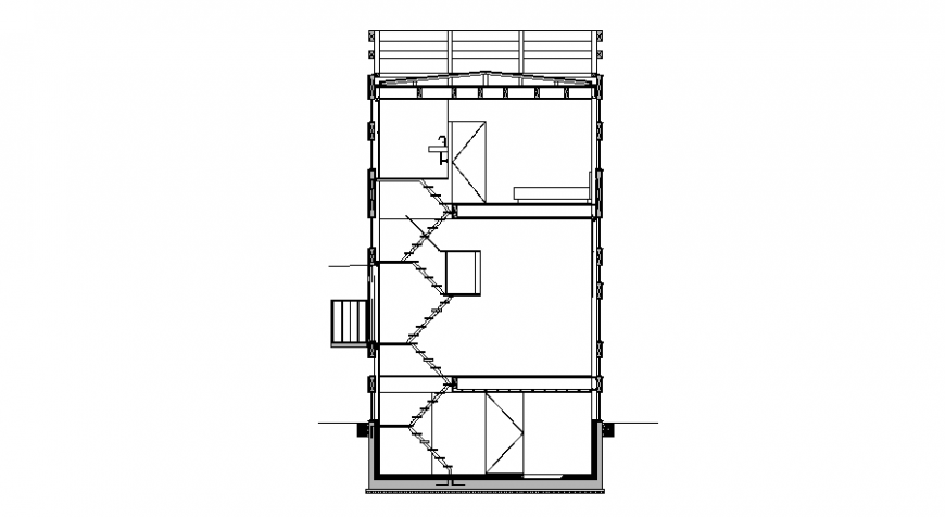 Three level house building facade sectional details dwg file
