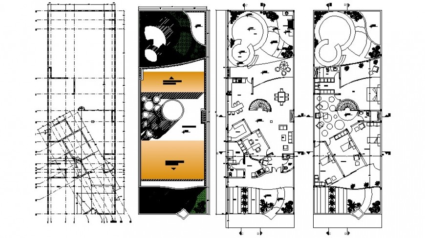 Three level house floor plan and structure drawing details dwg file