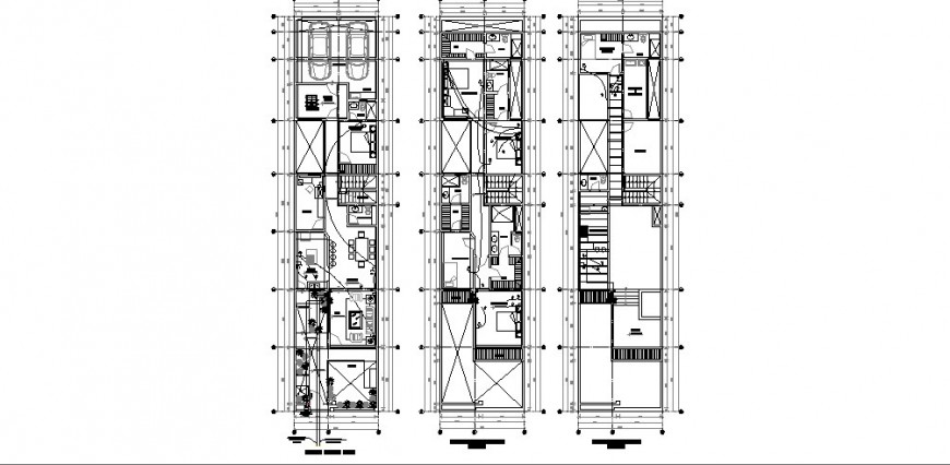 Three level house floor plan distribution auto-cad drawing details dwg file