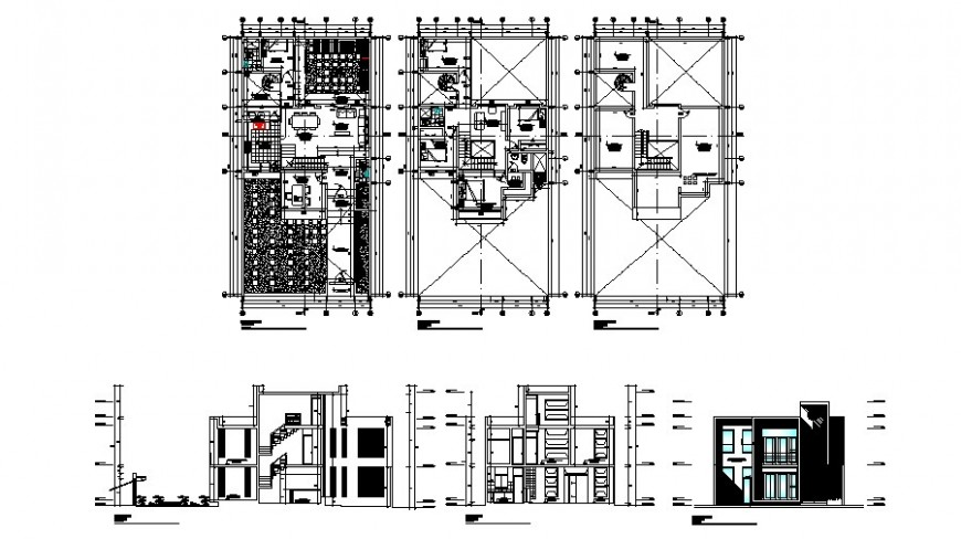 Three level house main elevation, section and floor plan details dwg file