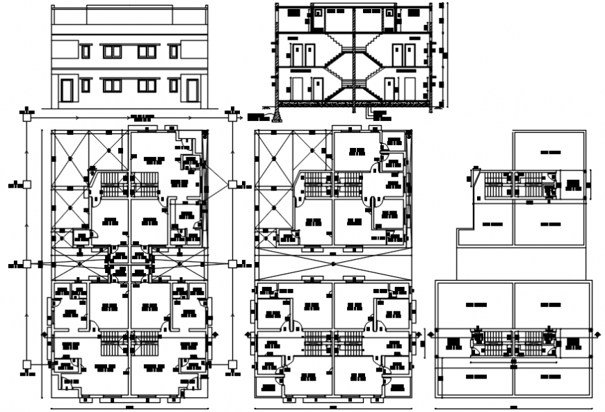 Three level houses elevation, section and floor plan cad drawing details dwg file