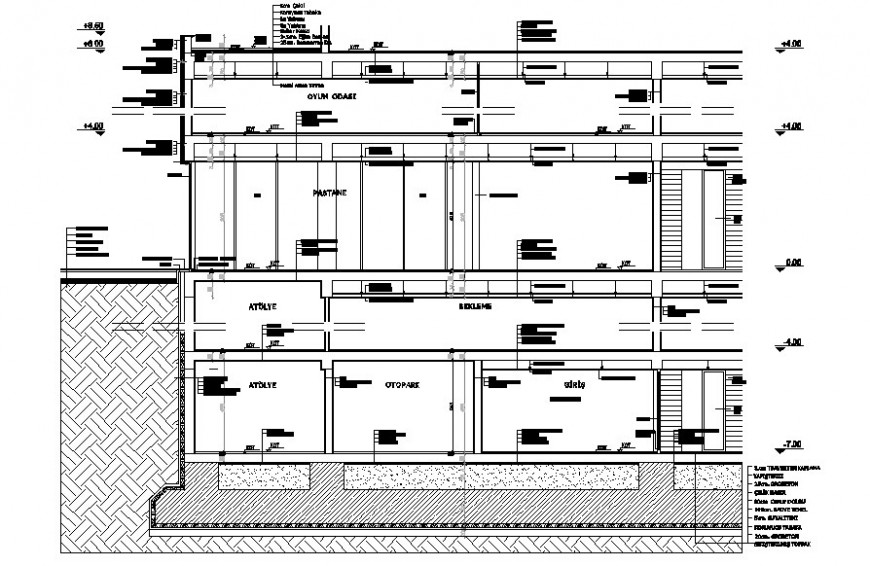 Three level office building facade constructive section drawing details dwg file