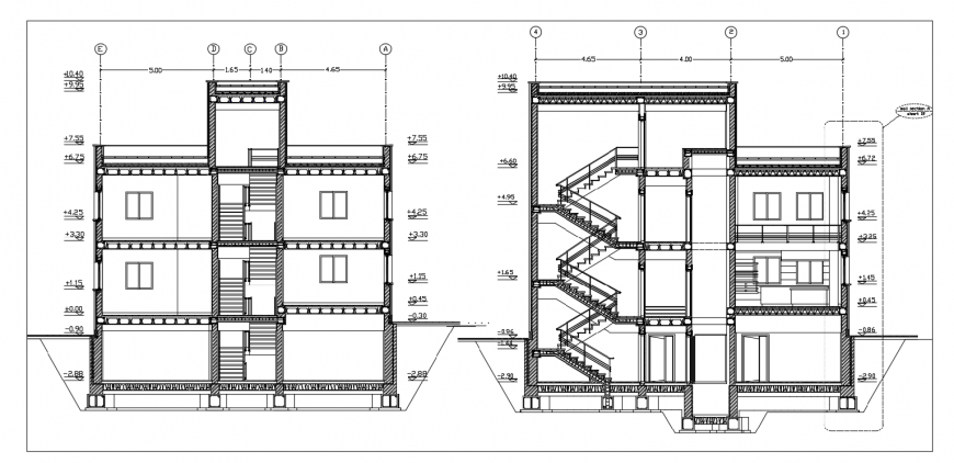Three level residential building main and back section drawing details dwg file