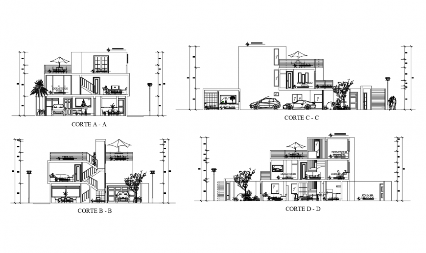 Three level residential house all sided section cad drawing details dwg file