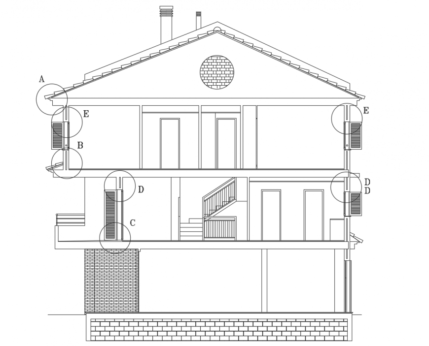 Three level residential house main section cad  drawing details dwg file