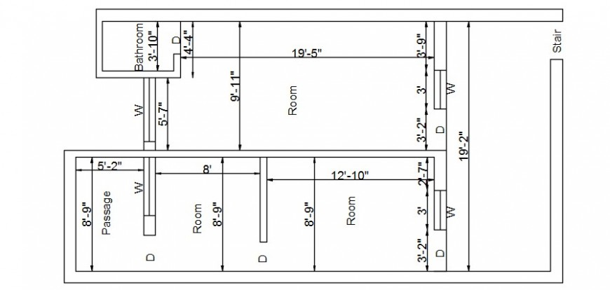 Three room house layout plan cad drawing details dwg file