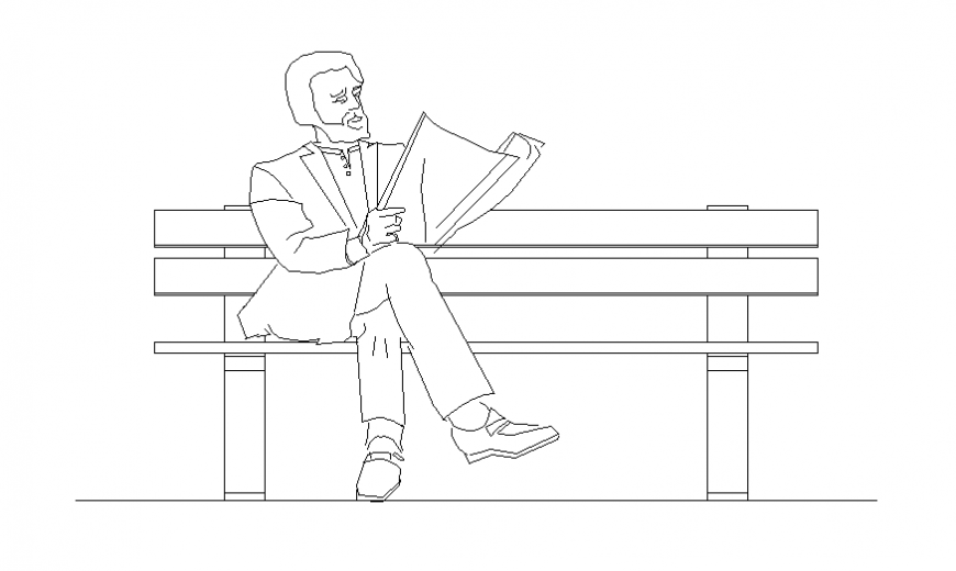 Three seat bench detail dwg file