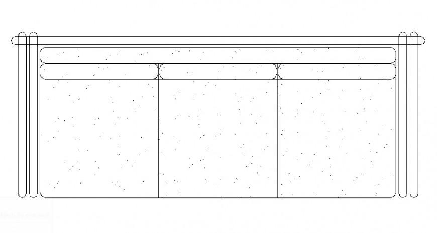 Three seated sofa set block 2d elevation details dwg file
