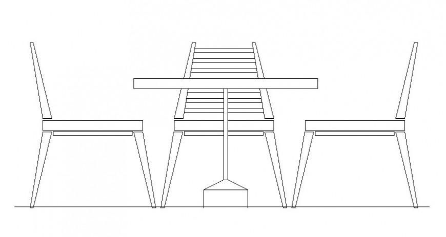 Three seater table and chair elevation drawing in autocad