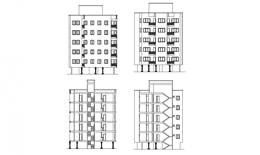 Three sided elevation and front section drawing details of apartment building dwg file