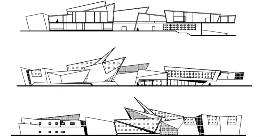 Three sided elevation drawing details of modern art museum building dwg file