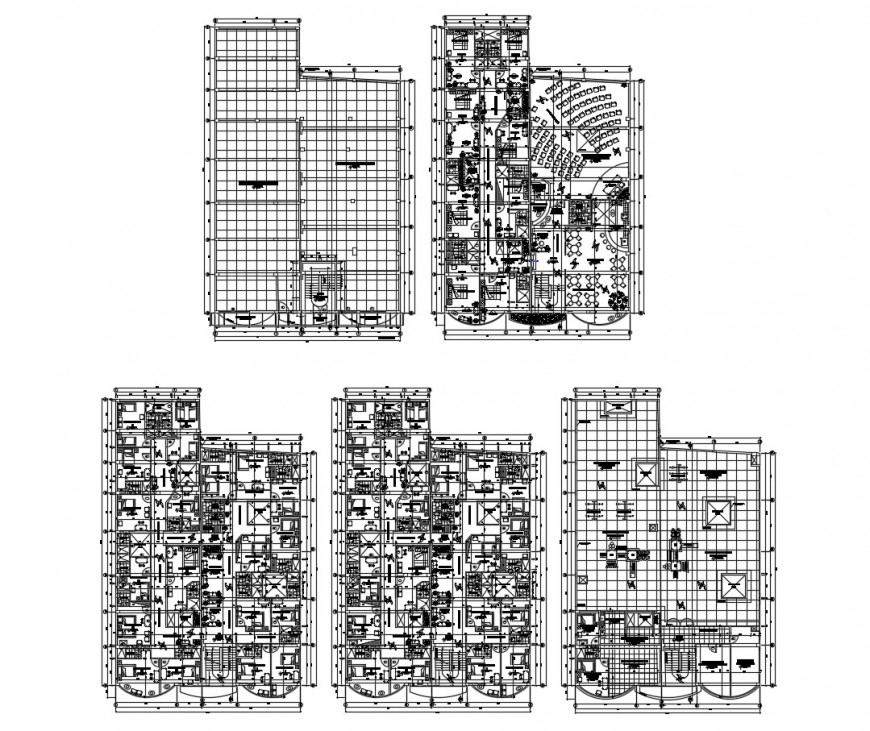 Three star hotel floor distribution layout plan cad drawing details dwg file