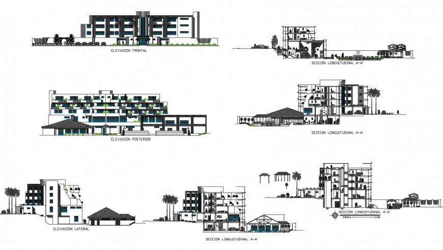 Three star hotel on mountain all sided elevation and section cad drawing details dwg file
