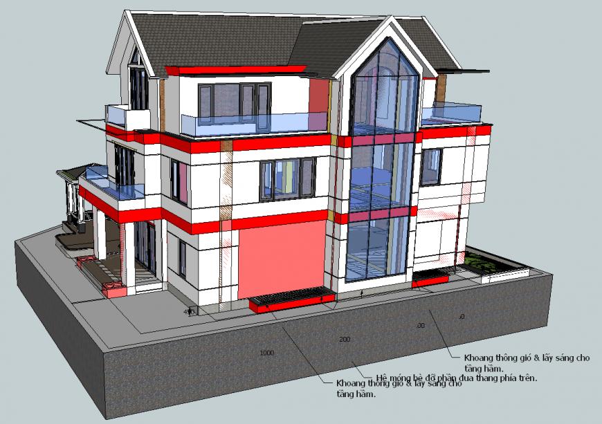Three storey bungalow exterior 3d model in skp Sketch Up file.