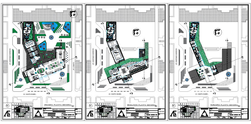 Three storey restaurant and park detail layout plan in dwg AutoCAD file.