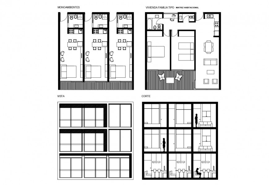 Three story apartment building elevation, section and floor plan details dwg file