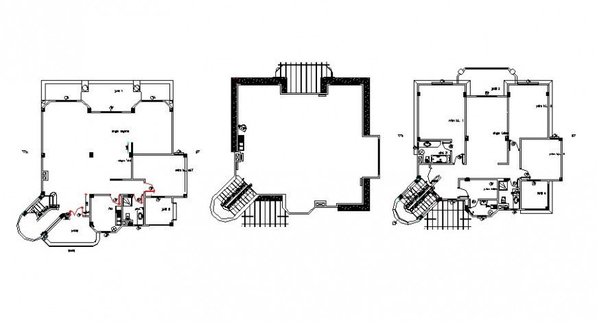 Three story building 2d view drawings autocad software file