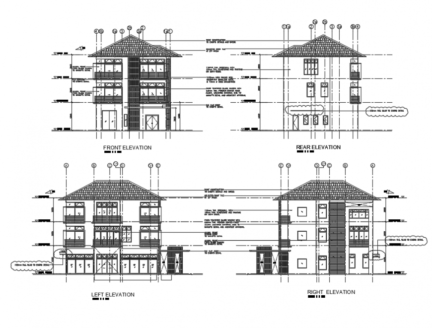 Three story bungalow all sided elevations cad drawing details dwg file