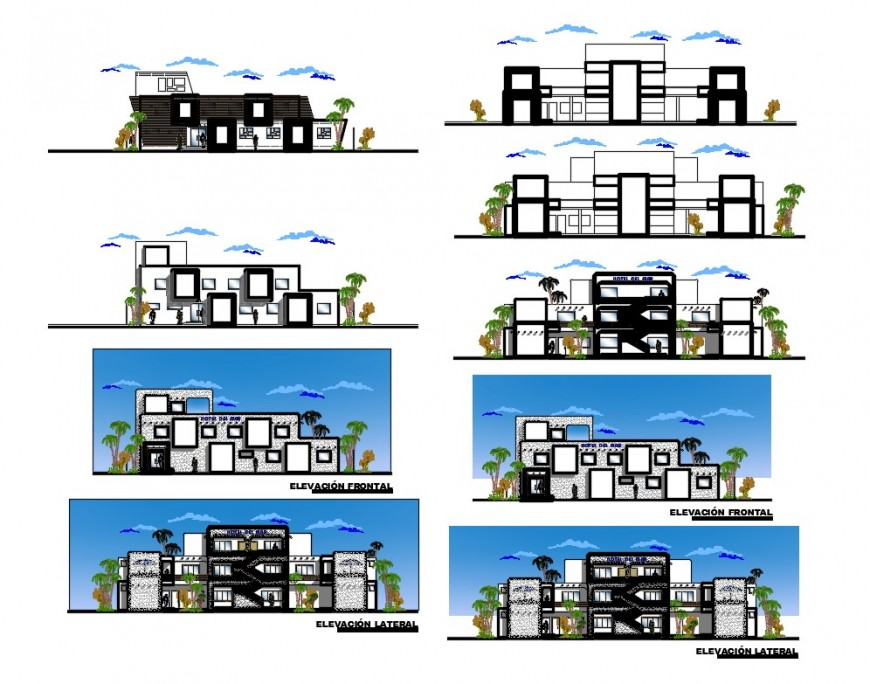 Three story hotel all sided elevation and sectional details dwg file