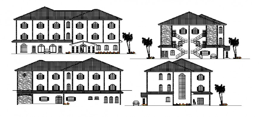 Three story hotel all sided elevation auto-cad drawing details dwg file