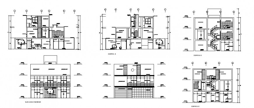 Three story house building all sided elevation and sectional details dwg file